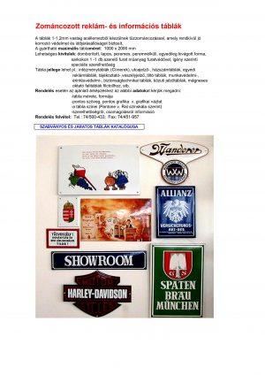 Reklám- és információs táblák